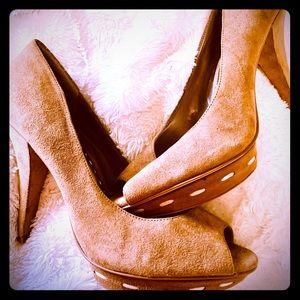 Tan suede BCBG 5 inch heels size 9